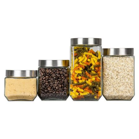 Home Basics 4 Piece Square Glass Canisters