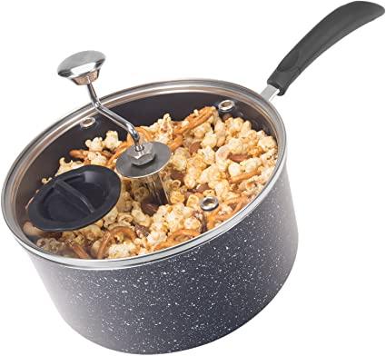 Zippy Pop Black Marble Stovetop Popcorn Popper